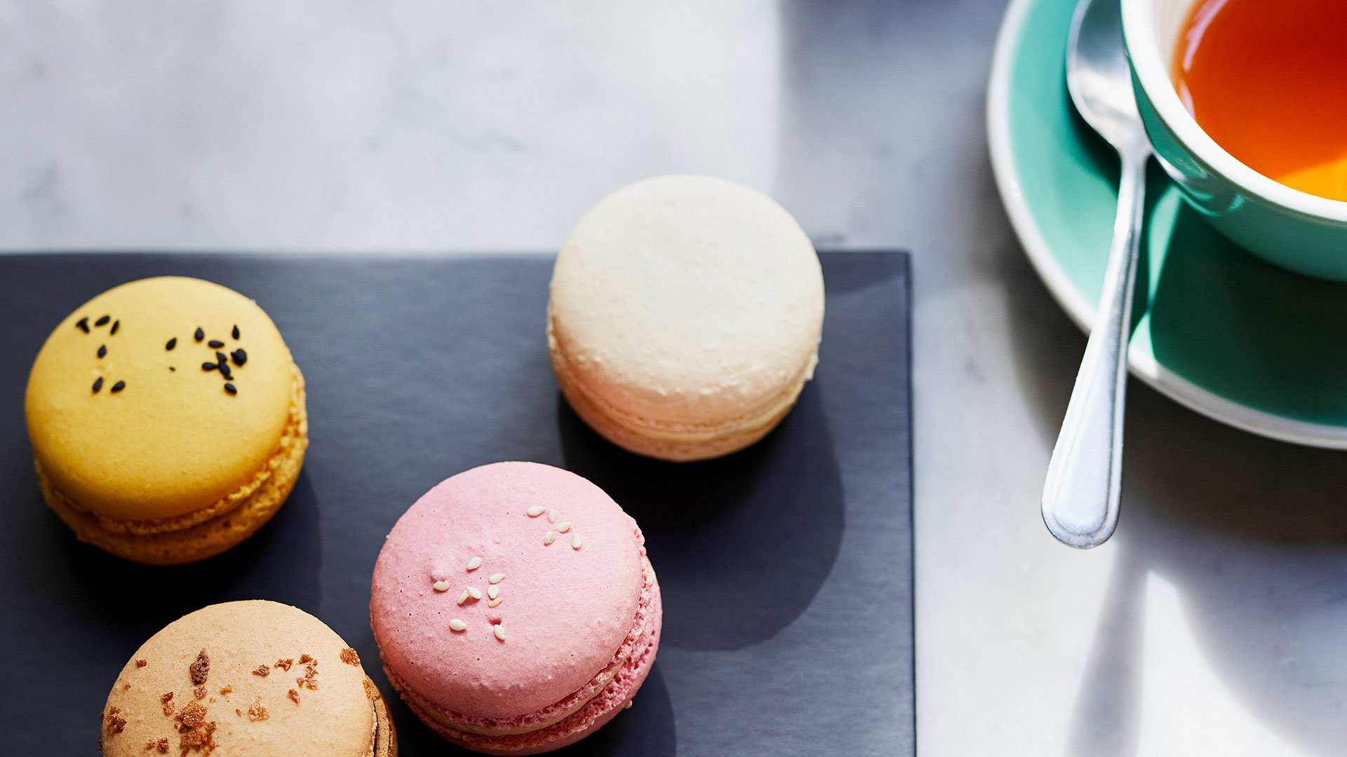 Macarons and cup of tea